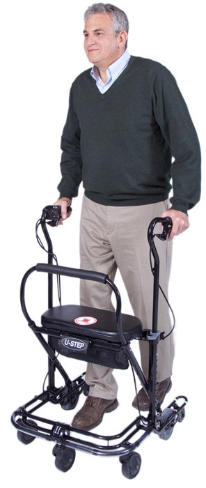 man using the standard walker for Parkinson's patients